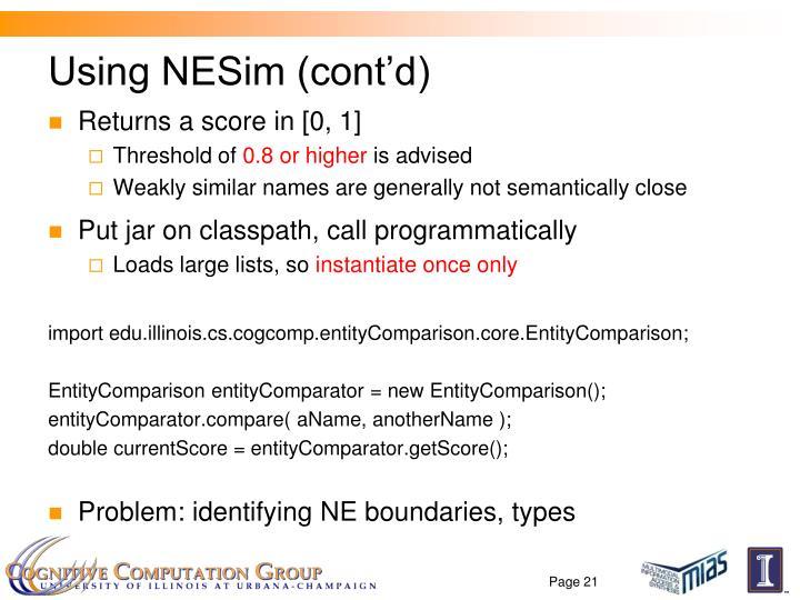 Using NESim (cont'd)