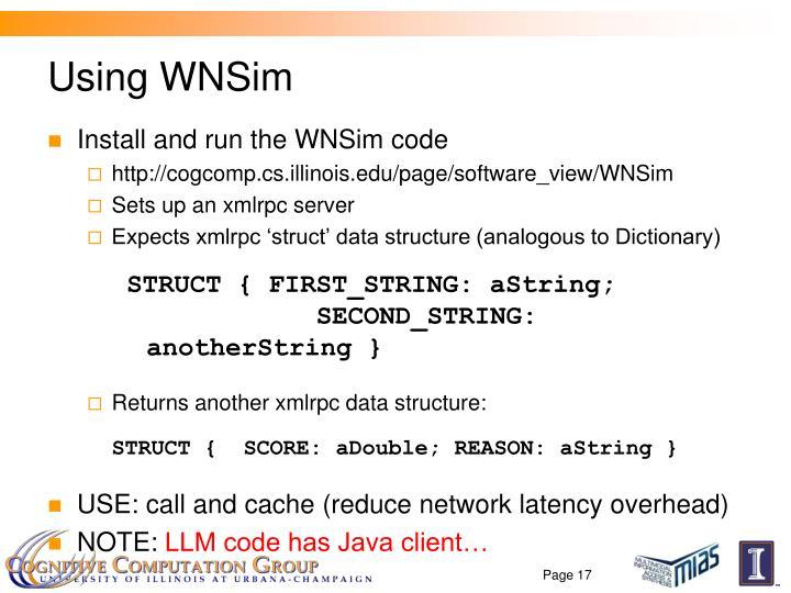 Using WNSim