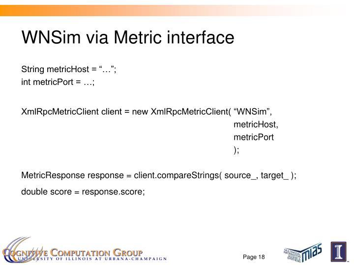 WNSim via Metric interface
