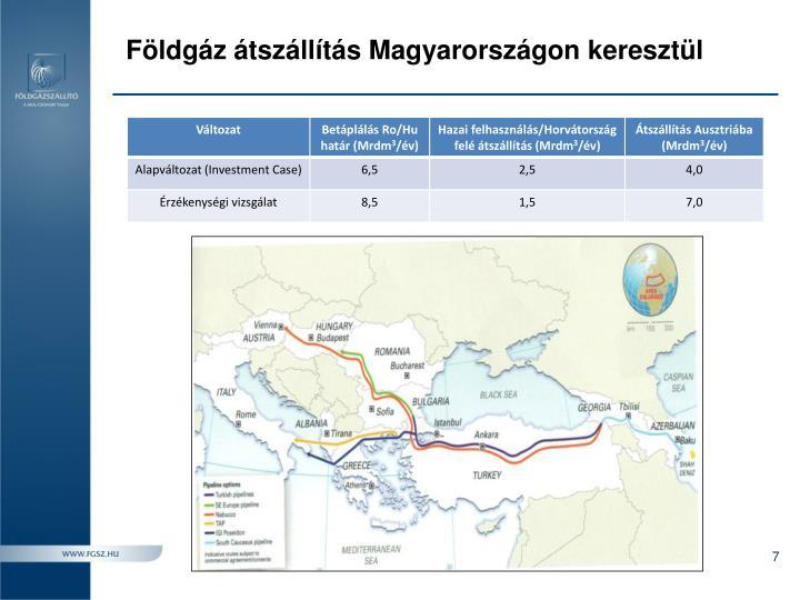 Földgáz átszállítás Magyarországon keresztül