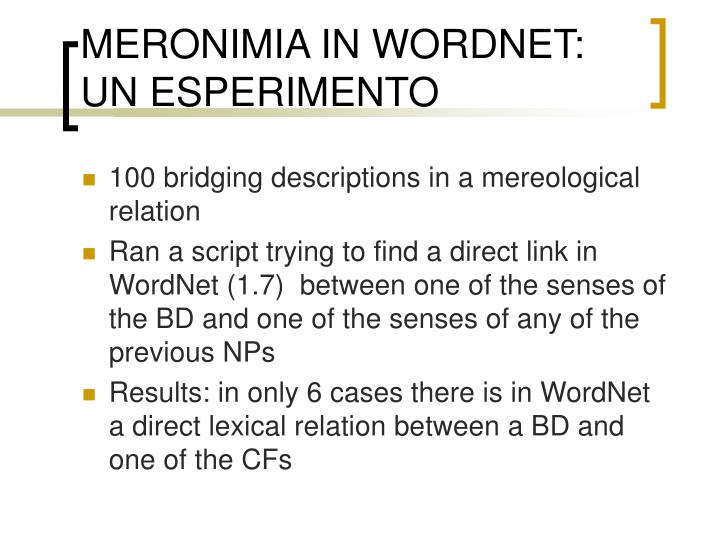 MERONIMIA IN WORDNET: UN ESPERIMENTO
