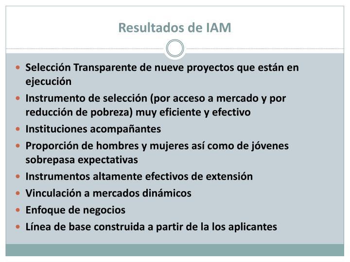 Resultados de IAM