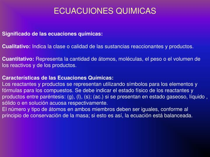 ECUACUIONES QUIMICAS