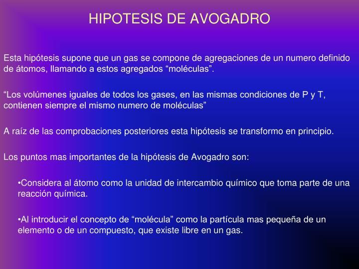 HIPOTESIS DE AVOGADRO