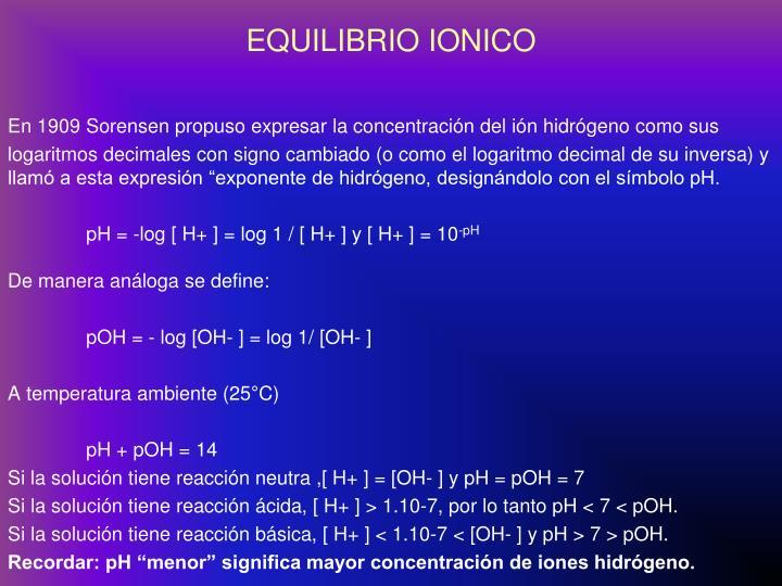EQUILIBRIO IONICO