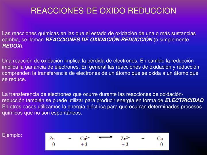 REACCIONES DE OXIDO REDUCCION