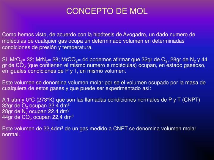 CONCEPTO DE MOL