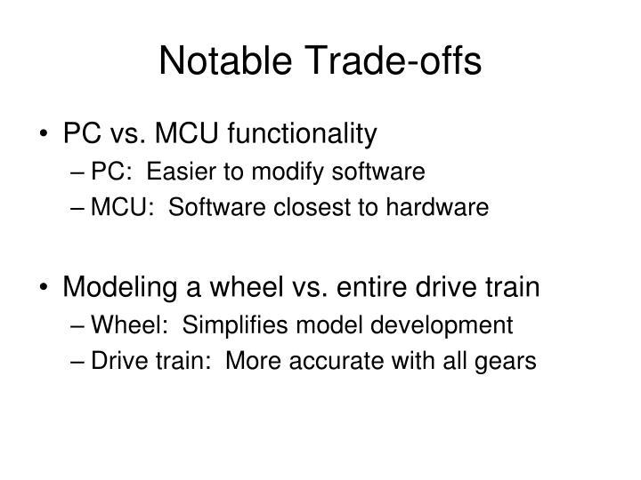 Notable Trade-offs