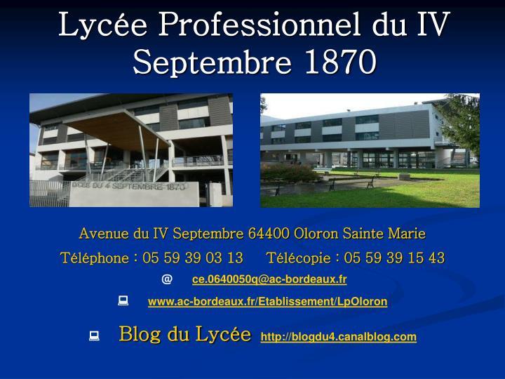 Lycée Professionnel du IV Septembre 1870