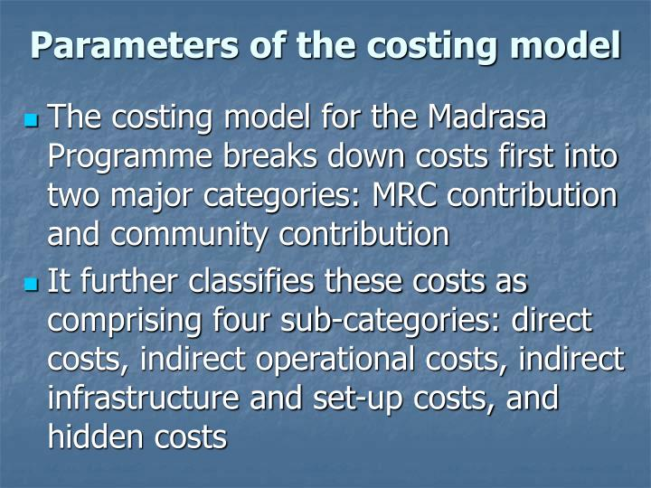 Parameters of the costing model