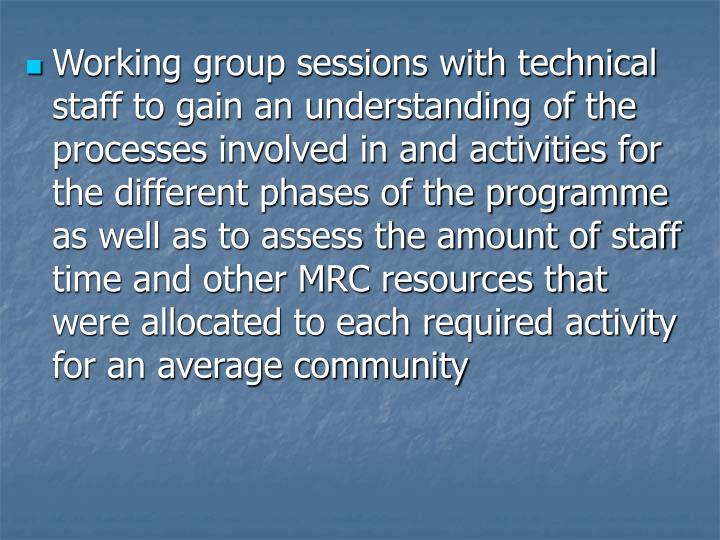 Working group sessions with technical staff to gain an understanding of the processes involved in and activities for the different phases of the programme as well as to assess the amount of staff time and other MRC resources that were allocated to each required activity for an average community