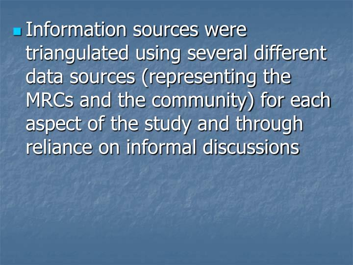 Information sources were triangulated using several different data sources (representing the MRCs and the community) for each aspect of the study and through reliance on informal discussions