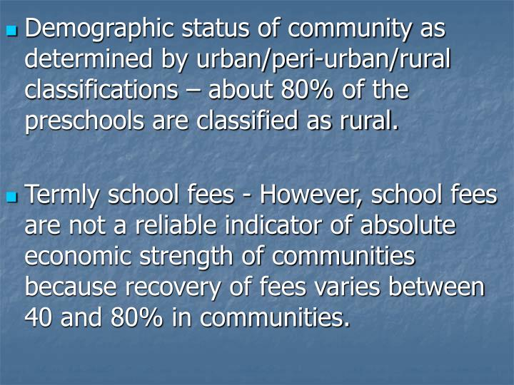 Demographic status of community