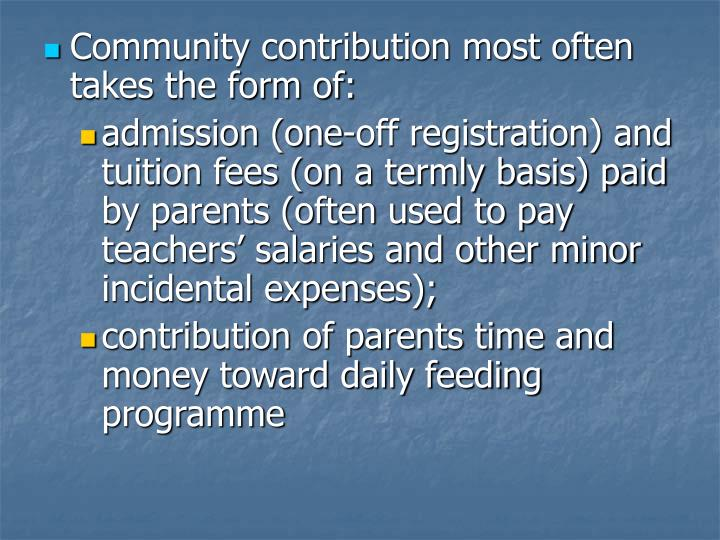 Community contribution most often takes the form of: