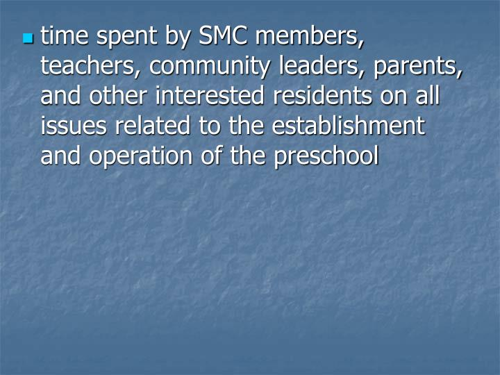 time spent by SMC members, teachers, community leaders, parents, and other interested residents on all issues related to the establishment and operation of the preschool