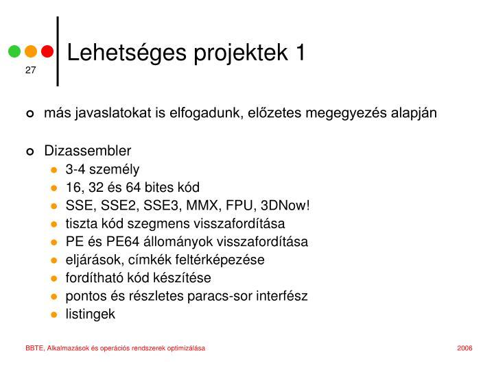 Lehetséges projektek 1