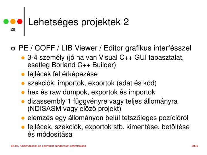 Lehetséges projektek 2
