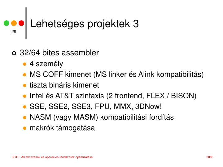 Lehetséges projektek 3