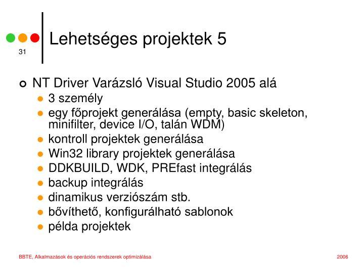 Lehetséges projektek 5