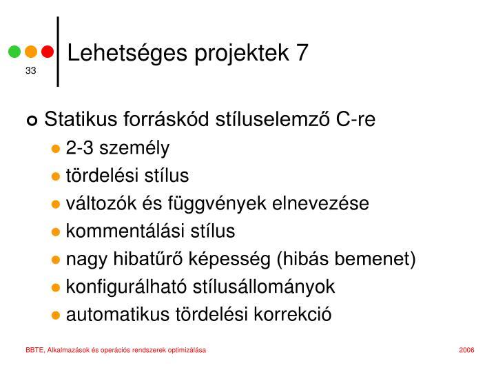 Lehetséges projektek 7