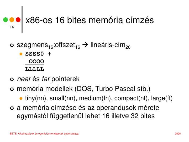 x86-os 16 bites memória címzés