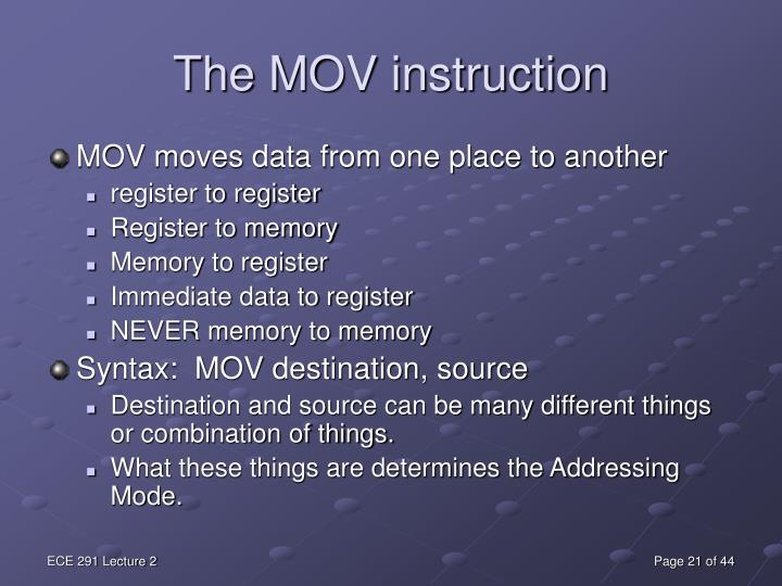 The MOV instruction