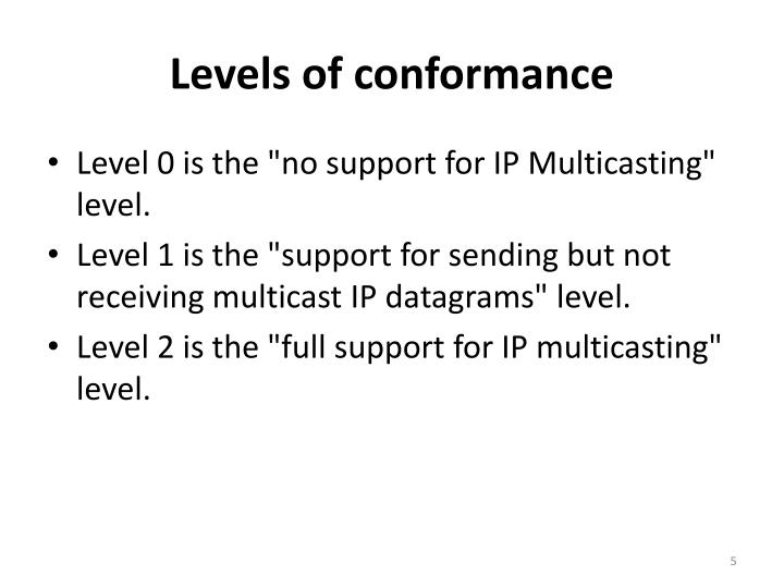 Levels of conformance