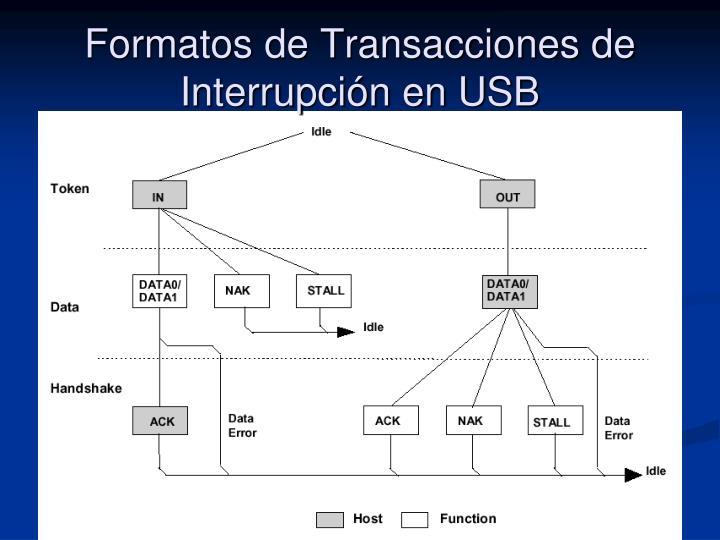 Formatos de Transacciones de Interrupción en USB