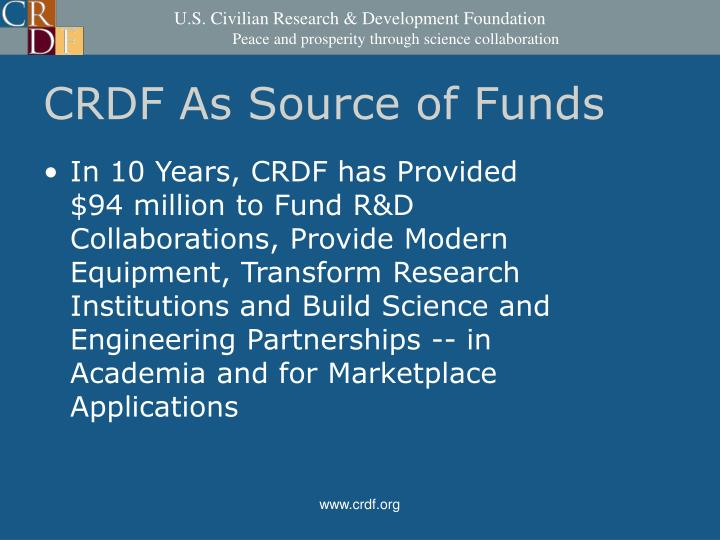 CRDF As Source of Funds