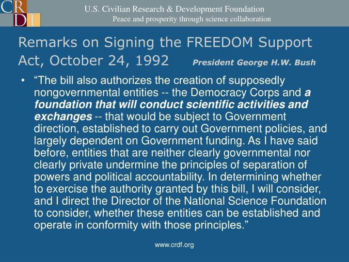 Remarks on Signing the FREEDOM Support Act, October 24, 1992