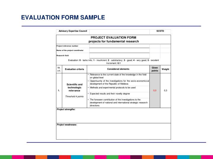 Evaluation form sample