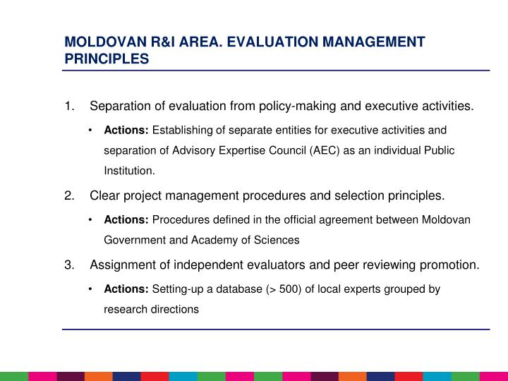 Moldovan R&I area. Evaluation management principles