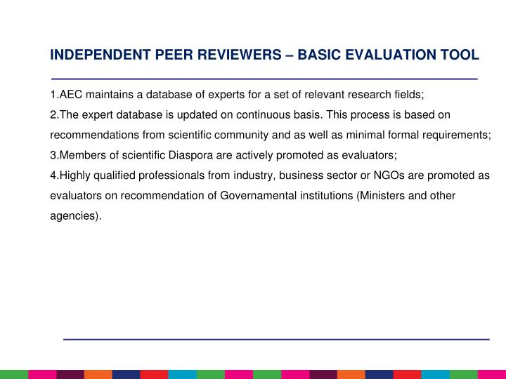 INDEPENDENT PEER REVIEWERS – BASIC EVALUATION TOOL