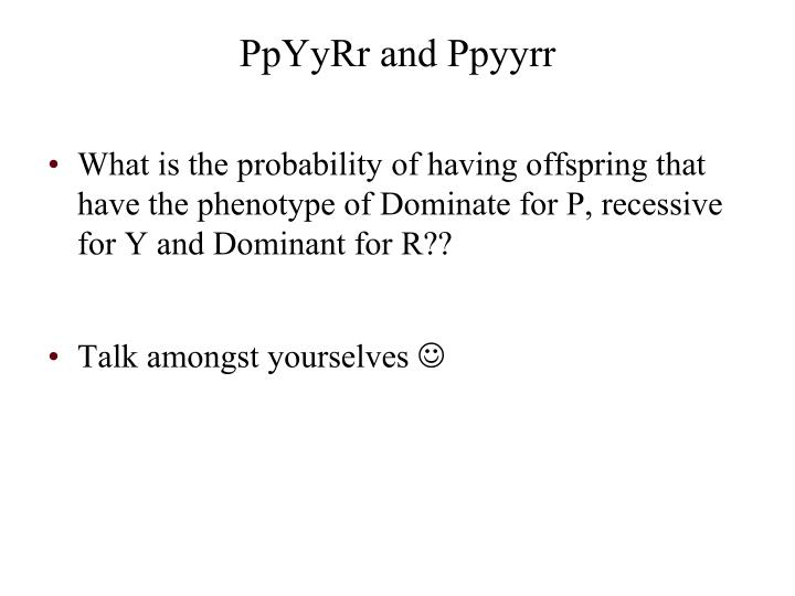 What is the probability of having offspring that have the phenotype of Dominate for P, recessive for Y and Dominant for R??