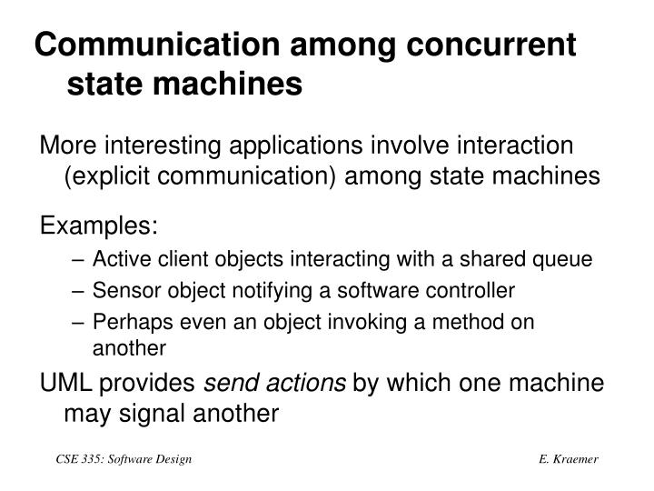 Communication among concurrent state machines