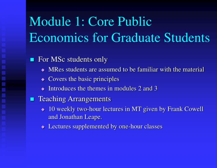 Module 1 core public economics for graduate students