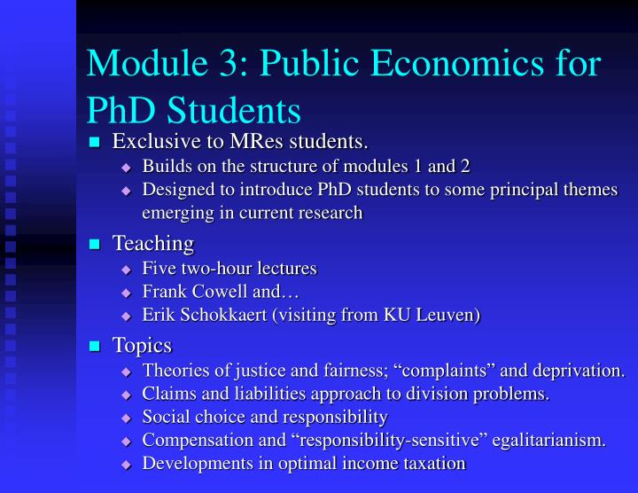Module 3: Public Economics for PhD Students