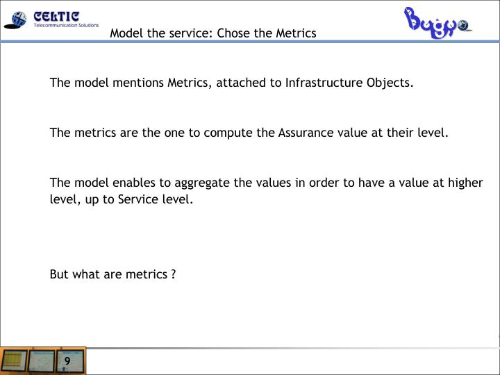 Model the service: Chose the Metrics