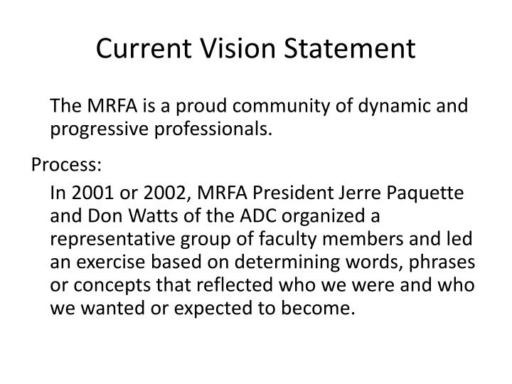 Current vision statement