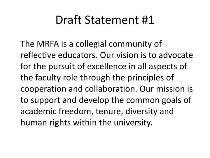 Draft Statement #1