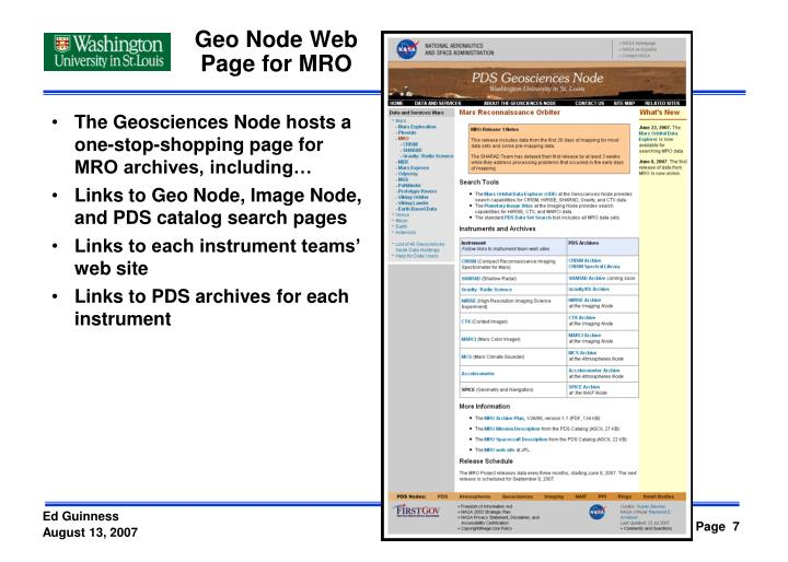 Geo Node Web Page for MRO