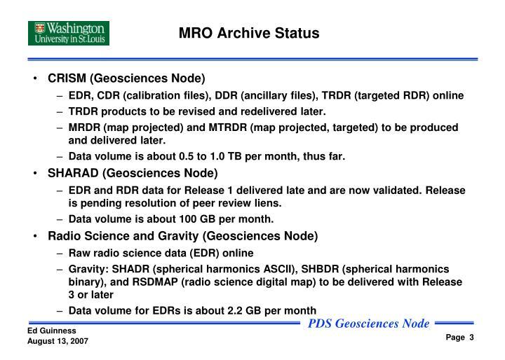 MRO Archive Status