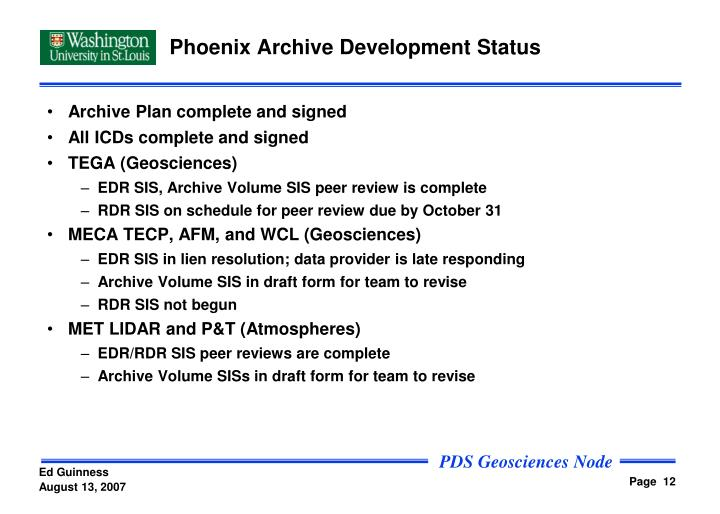Phoenix Archive Development Status