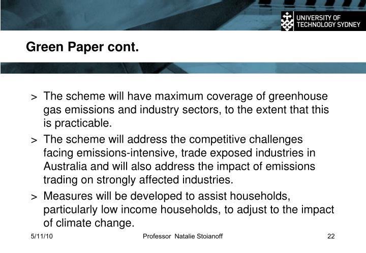 Green Paper cont.