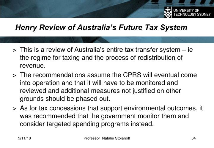 Henry Review of Australia's Future Tax System