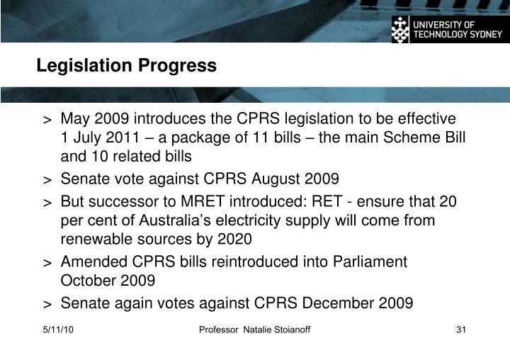 Legislation Progress