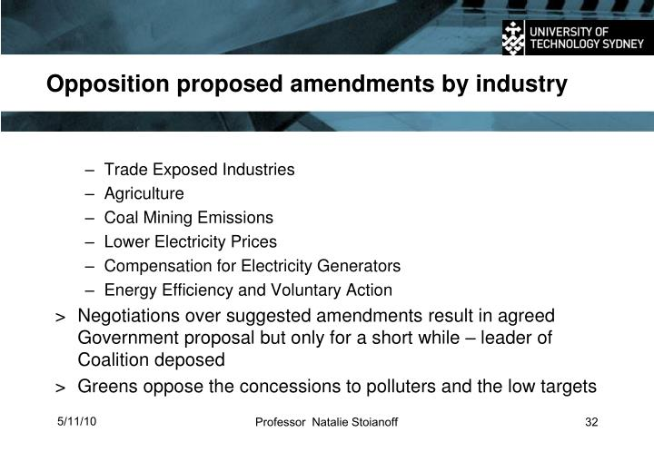 Opposition proposed amendments by industry