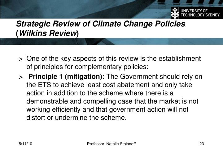 Strategic Review of Climate Change Policies