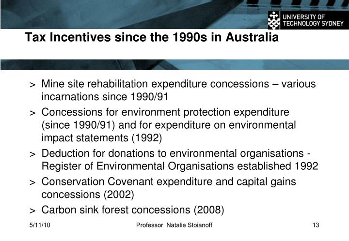 Tax Incentives since the 1990s in Australia
