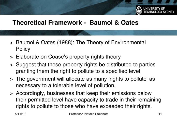 Theoretical Framework -  Baumol & Oates